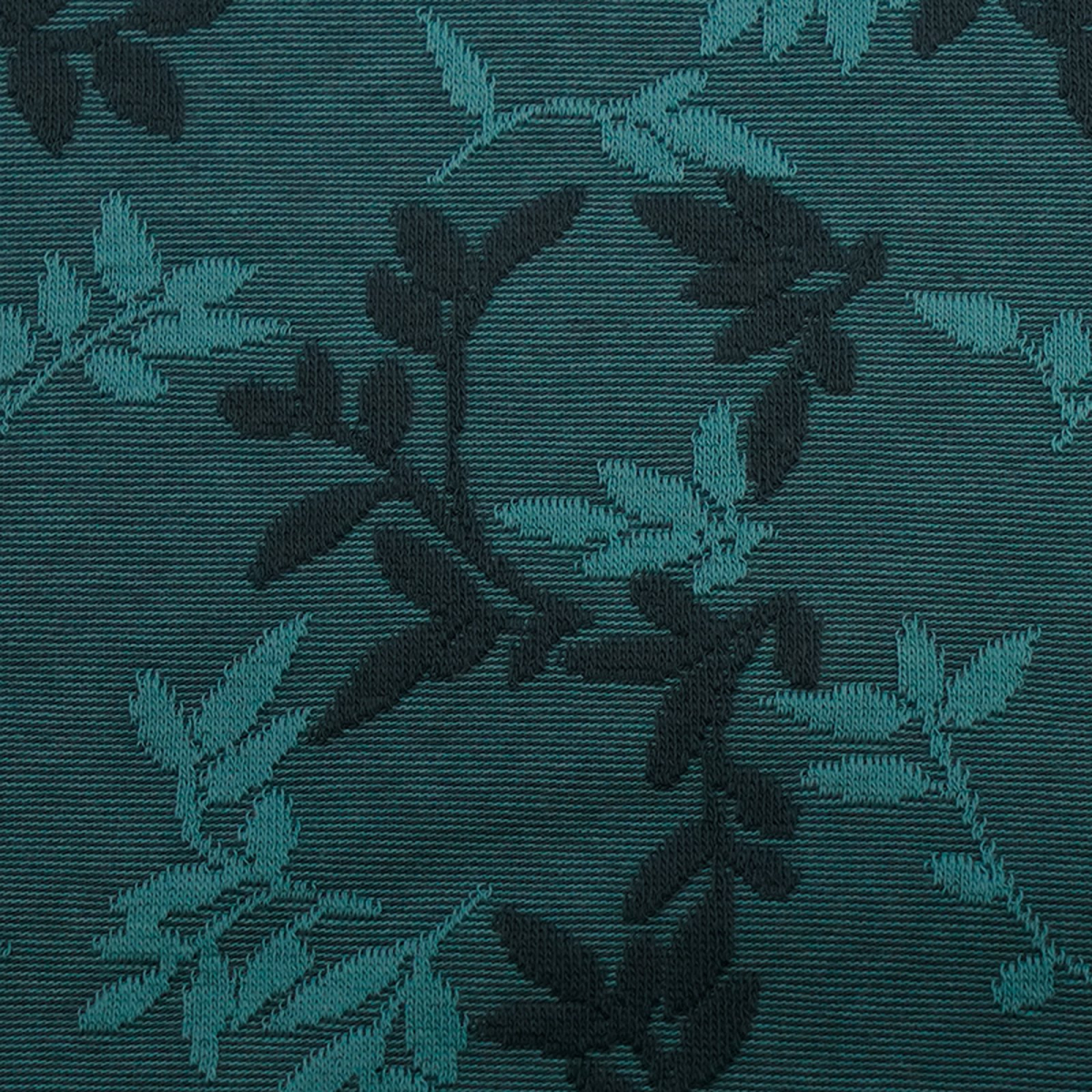 Relief-Jacquard Shiny Leaves - smaragd