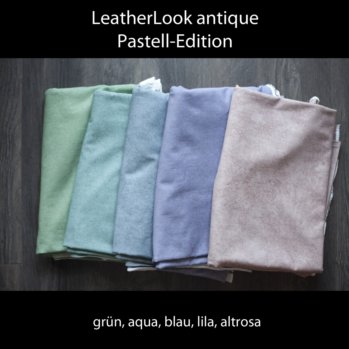 LeatherLook antique - pastell grün - Bio-Jersey